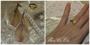 Серьги из лепестков астельмерии,  винтажная фурнитура. Кольцо с лепестком желтой розы